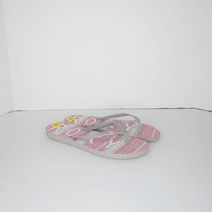 roxy women's flip flops, size 9 grey and pink
